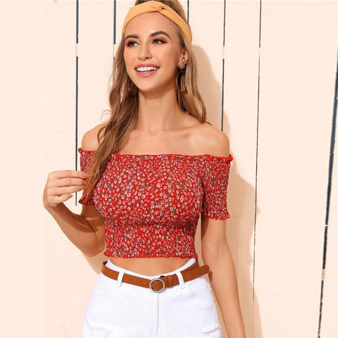 BOHO STYLE RED FLORAL CROP TOP-Cosmique Studio-Aesthetic Clothing Store
