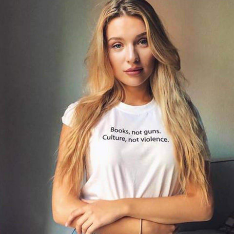 BOOKS NOT GUNS CULTURE NOT VIOLENCE TEE-Cosmique Studio