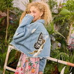 BUTTERFLY CAT EMBROIDERY PRINT DENIM JACKET - Cosmique Studio