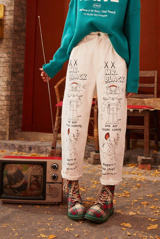CARTOON PRINT STRAIGHT KOREAN STYLE PANTS-Cosmique Studio
