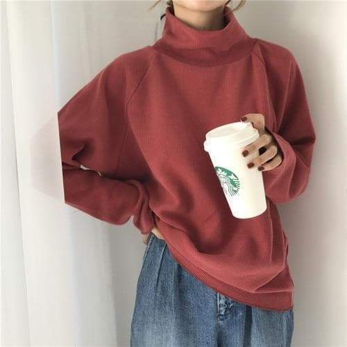 CASUAL TURTLENECK KNITTED SWEATER-Cosmique Studio