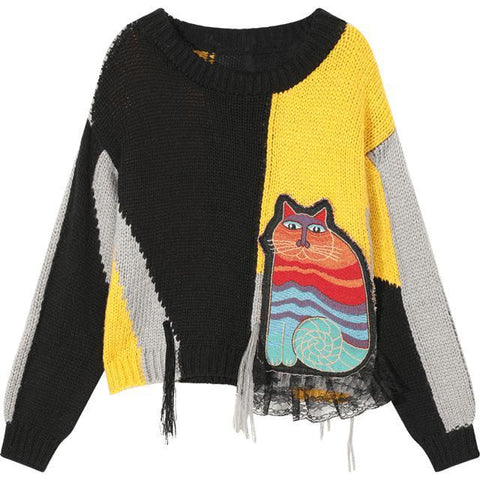 CAT APPLIQUES COLORBLOCK PATCHWORK PULLOVER SWEATER-Cosmique Studio