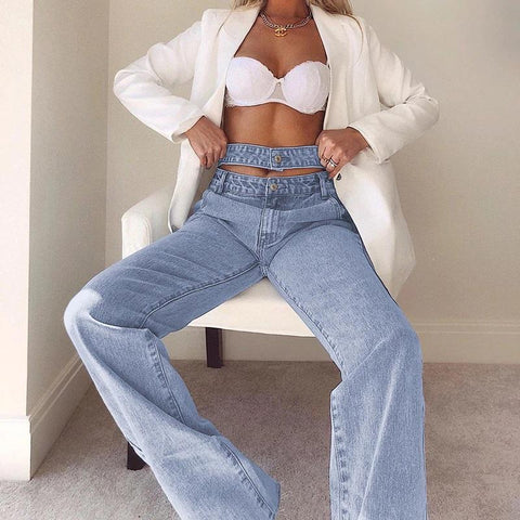 CHIC DOUBLE HIGH WAIST JEANS-Cosmique Studio-aesthetic-clothing-store