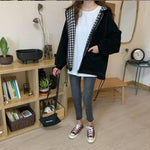 CHIC PLAID HOODED BOMBER JACKET-Cosmique Studio-aesthetic-clothing-store