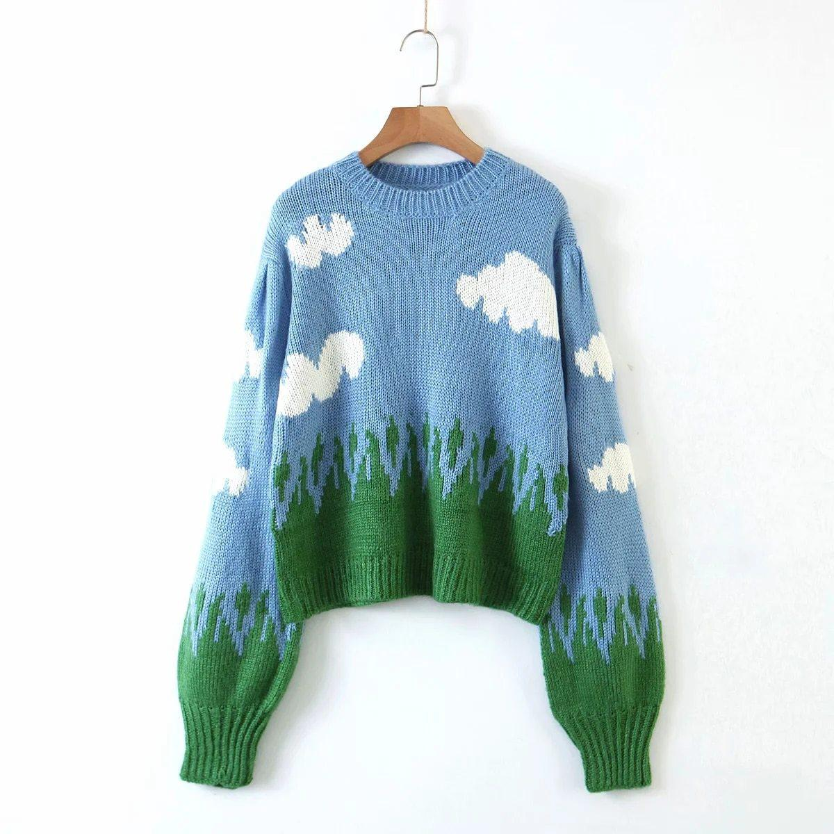 CLOUDS KNITTED CROP SWEATER-Cosmique Studio-aesthetic-clothing-store