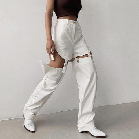 COWBOY STYLE HOLLOW OUT WHITE PANTS-Cosmique Studio-aesthetic-clothing-store