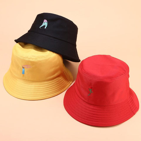 CREATIVE PATTERN EMBROIDERY SOFT GIRL BUCKET HAT-Cosmique Studio