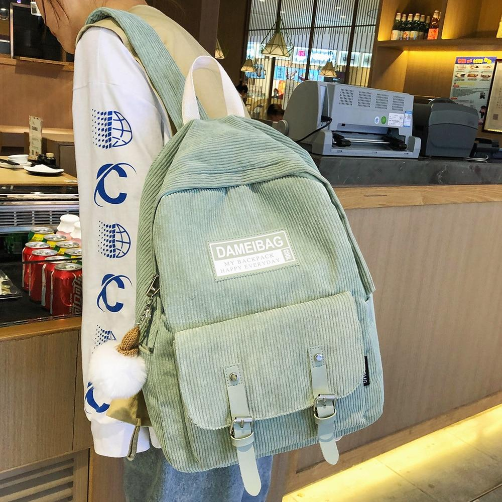 CUTE AESTHETIC CORDUROY BACKPACK - Cosmique Studio - Aesthetic Clothes