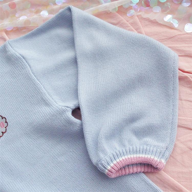 CUTE BLUE RABBIT SWEATER - Cosmique Studio - Aesthetic Outfits
