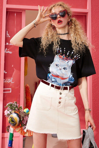 CUTE KING CAT PRINT TEE - Cosmique Studio