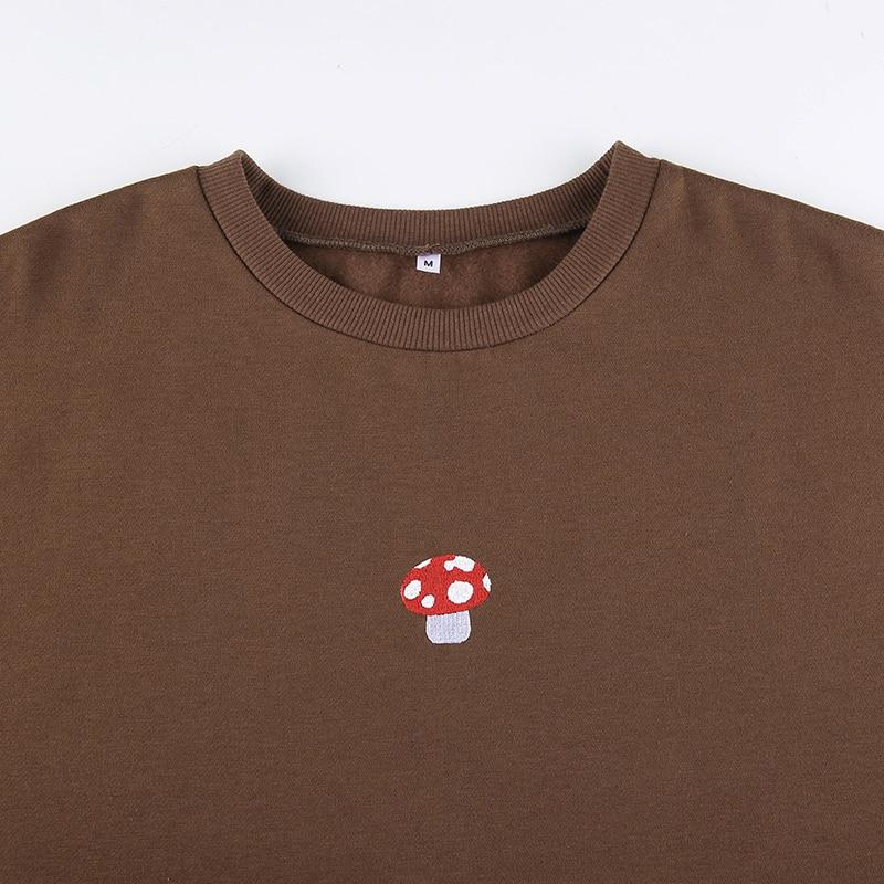 CUTE MUSHROOM EMBROIDERY SWEATSHIRT - Cosmique Studio - Aesthetic Outfits