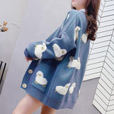 CUTE SHEEP CARDIGAN SWEATER-aesthetic-clothing-cosmiquestudio.com