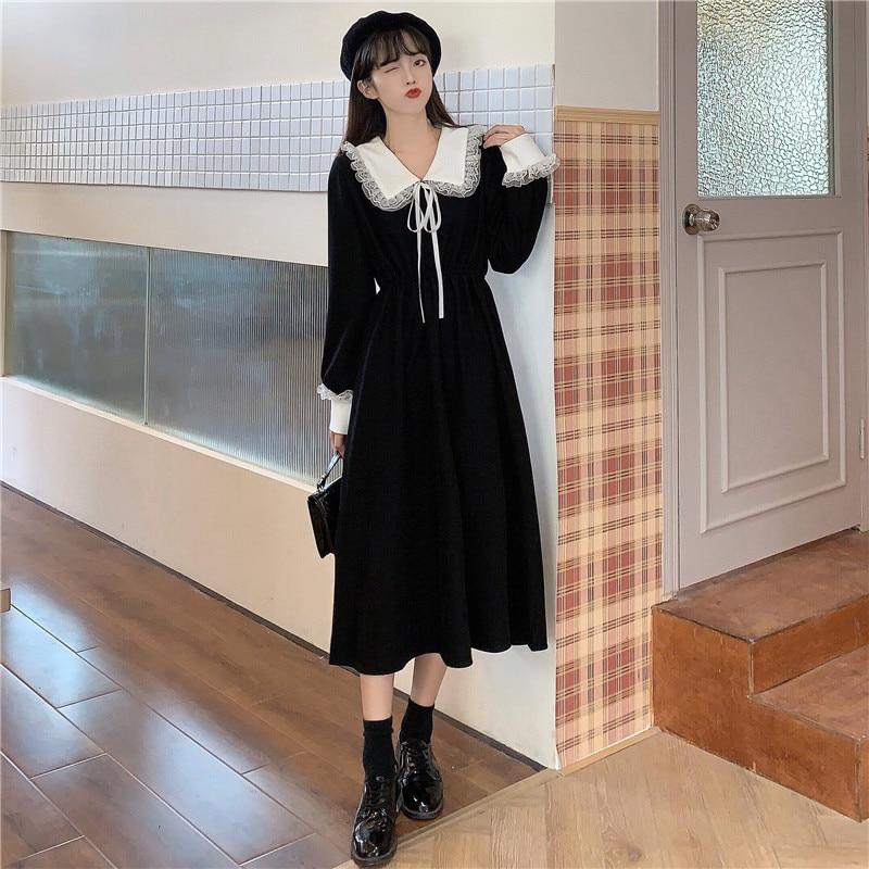 DARK ACADEMIA VINTAGE MIDI DRESS - Cosmique Studio - Aesthetic Outfits