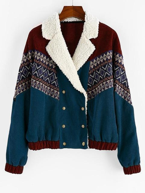 DOUBLE BREASTED TRIBAL PRINT FAUX SHEARLING PANEL CORDUROY JACKET-Cosmique Studio