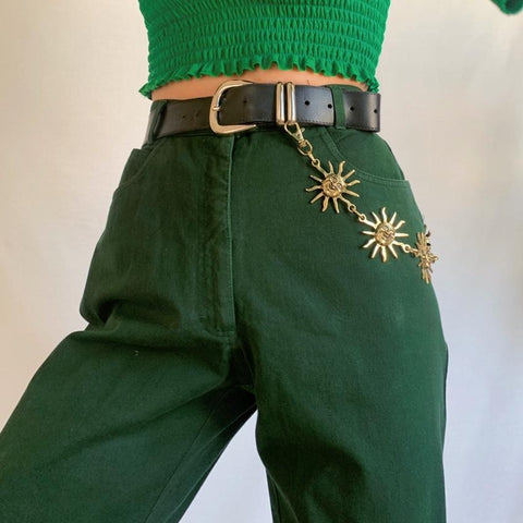 DREAMY VINTAGE FOREST GREEN JEANS-Cosmique Studio - Aesthetic Clothing