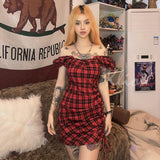 EDGY EGIRL STYLE BLACK RED PLAID SEXY MINI DRESS-Cosmique Studio-Aesthetic Clothing Store