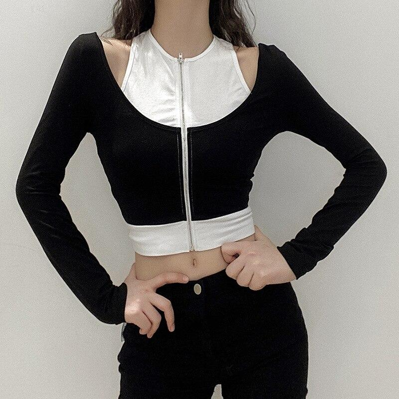 EDGY OFF ZIPPER CROP TOP - Cosmique Studio - Aesthetic Outfits