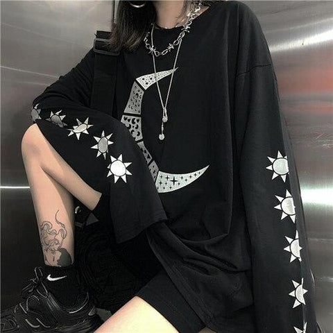 EDGY STYLE O-NECK LOOSE GOTHIC TEE-Cosmique Studio-Aesthetic-Egirl-Grunge-Clothing