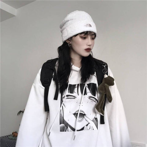 EGIRL ANIME PRINTED EDGY HOODIE-Cosmique Studio-Aesthetic-Egirl-Grunge-Clothing