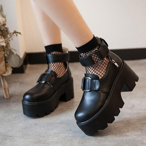 EGIRL STYLE BLACK PLATFORM SHOES-Cosmique Studio-Aesthetic-Egirl-Grunge-Clothing