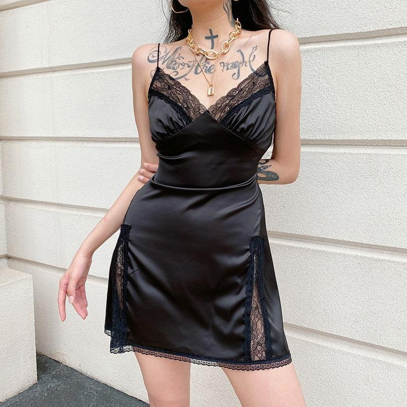 EGIRL STYLE SATIN SEXY MINI DRESS-Cosmique Studio-Aesthetic Clothing Store
