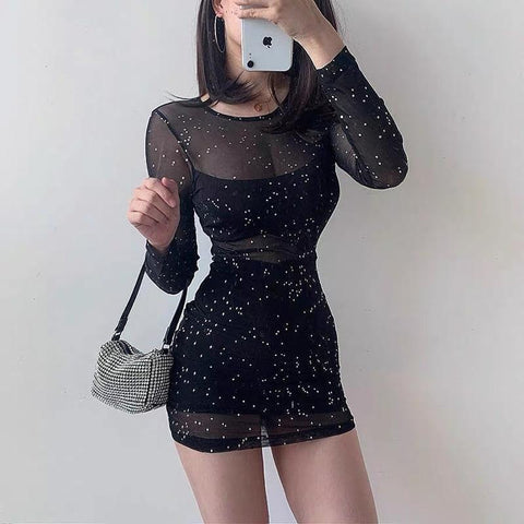 EGIRL STYLE SEXY SHINY PARTY MINI DRESS-Cosmique Studio-Aesthetic-Egirl-Grunge-Clothing