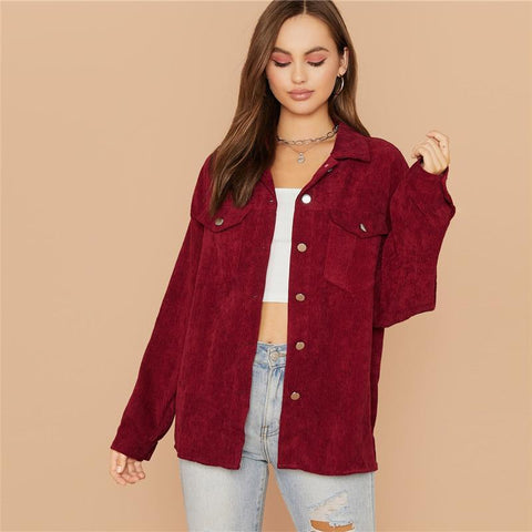 ELEGANT CLARET RED CORDUROY JACKET-Cosmique Studio-Aesthetic Clothing Store