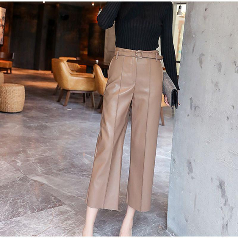 ELEGANT KOREAN OFFICE STYLE PU LEATHER PANTS-Cosmique Studio-Aesthetic-Outfits