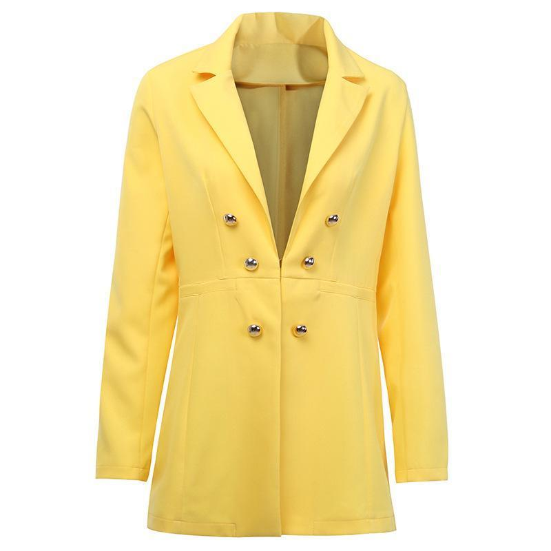 ELEGANT YELLOW BLAZER JACKET-Cosmique Studio