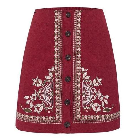 ETHNIC VINTAGE FLORAL EMBROIDERY MINI SKIRT-Cosmique Studio-aesthetic-clothing-store