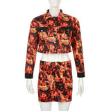 FIRE FLAME PRINT TWO PIECES SETS COAT AND SKIRT-Cosmique Studio