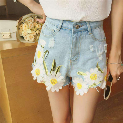 FLORAL EMBROIDERY DENIM SHORTS-Cosmique Studio