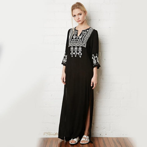 FLORAL EMBROIDERY ETHNIC VINTAGE BOHO MAXI DRESS-Cosmique Studio
