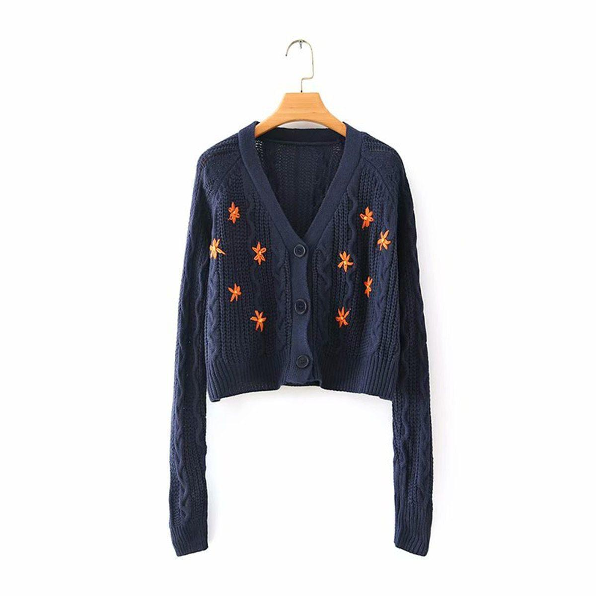 FLORAL EMBROIDERY VINTAGE SWEATER-Cosmique Studio-aesthetic-clothing-store