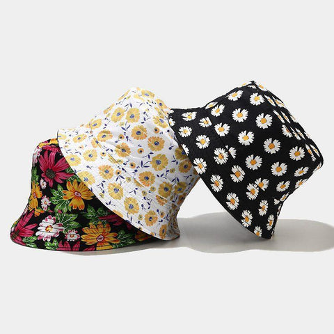 FLOWER PRINTED DOUBLE-SIDED BUCKET HAT-Cosmique Studio