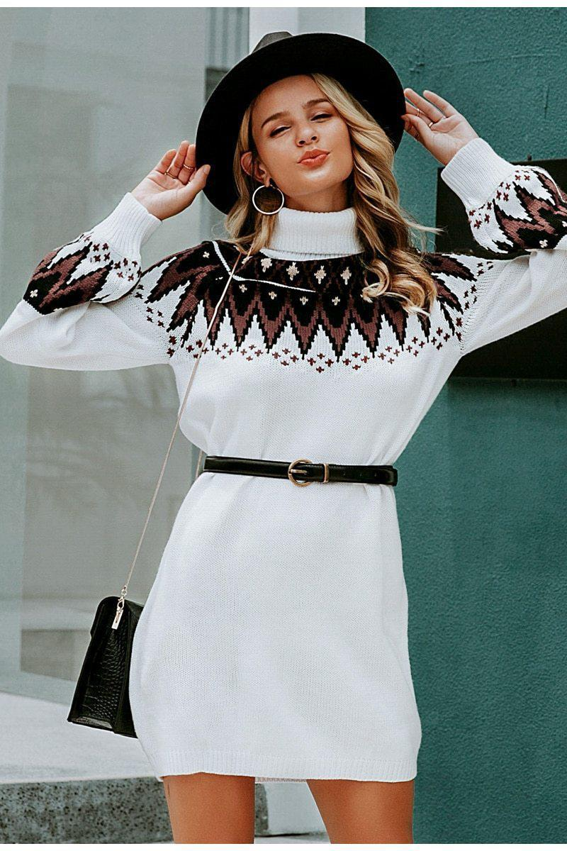 Geometric Knitted Turtle Neck Pullover Retro Dress - Cosmiquestudio.com Aesthetic Outfits