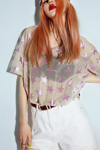 GLITTER STARS GRAPHIC TRANSPARENT TEE.-Cosmique Studio