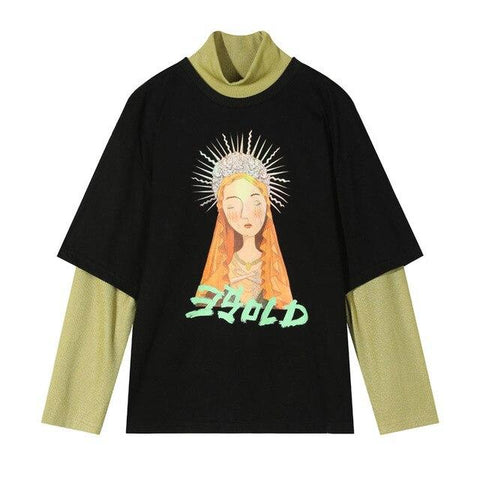 GODDESS PRINT LONG SLEEVE FAKE TWO PIECES TEE - Cosmique Studio