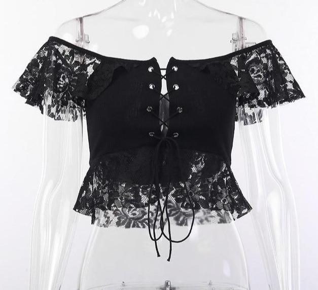 GOTHIC BLACK LACE CROP TOP - Cosmique Studio - Aesthetic Outfits