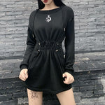 GOTHIC BLACK WIZARD MINI DRESS-Cosmique Studio-Aesthetic-Outfits