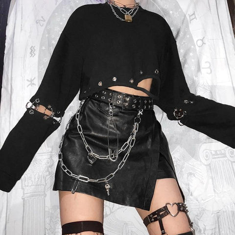 GOTHIC GRUNGE BLACK DETACHABLE SLEEVE CROP TOP-Cosmique Studio