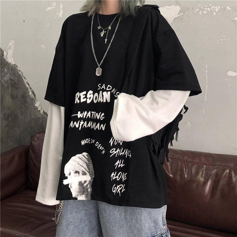 GOTHIC PUNK EGIRL LOOSE LONG SLEEVE TEE-Cosmique Studio-Aesthetic-Egirl-Grunge-Clothing