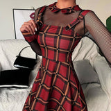 GOTHIC RED PLAID SPAGHETTI STRAP MINI DRESS-Cosmique Studio