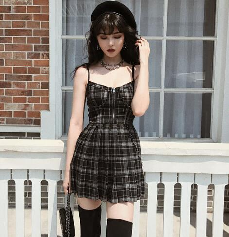 GOTHIC SEXY SLING DRESS - Cosmique Studio - Aesthetic Outfits