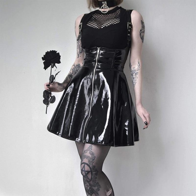 GRUNGE BLACK LEATHER STRAPPY SKIRT - Cosmique Studio - Aesthetic Outfits