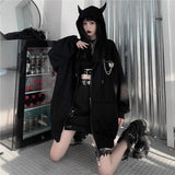 GRUNGE GIRL DEVIL EARS ZIP-UP BLACK HOODIE-Cosmique Studio-Aesthetic-Outfits