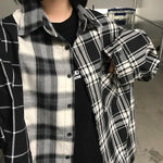 GRUNGE PLAID LOOSE SHIRT-Cosmique Studio-Aesthetic-Outfits