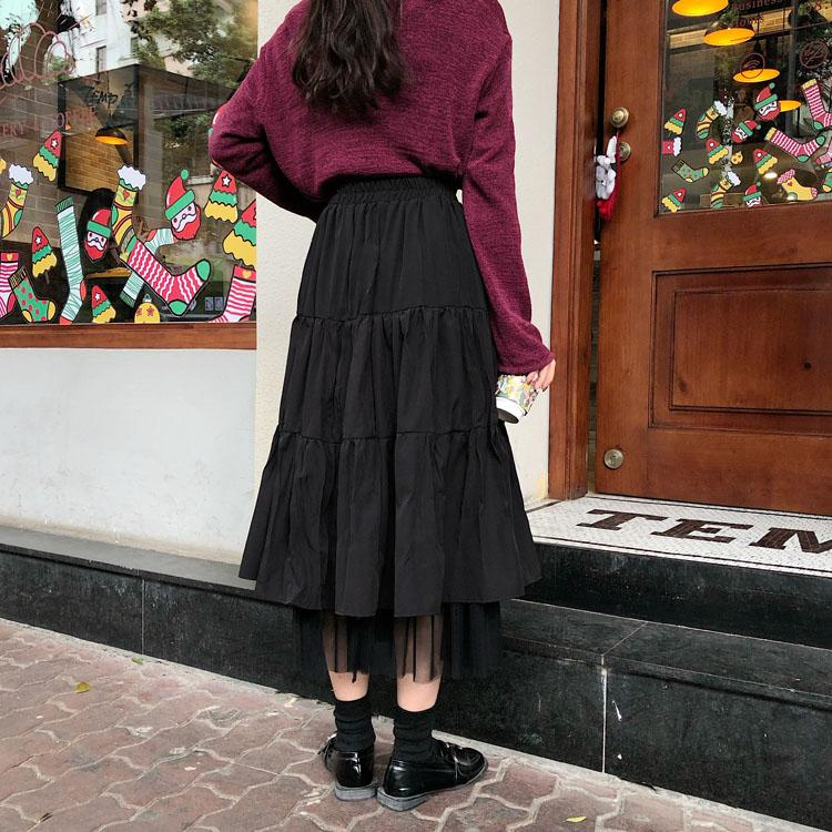 GRUNGE RUFFLES MIDI SKIRT - Cosmique Studio - Aesthetic Clothes