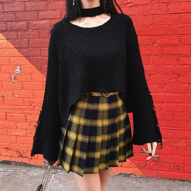 GRUNGE STYLE HIGH WAIST MINI SCHOOL SKIRT-Cosmique Studio