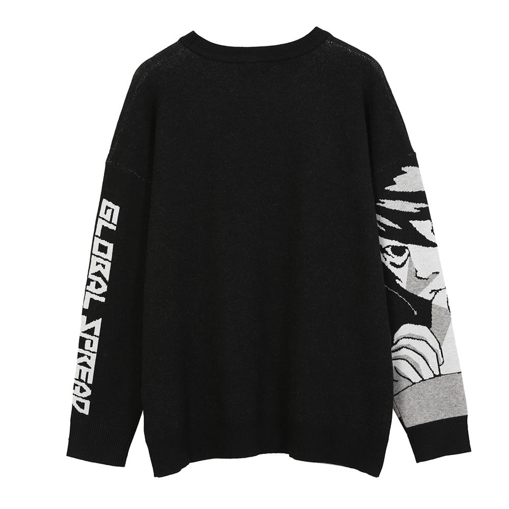 HARAJUKU GRUNGE BLACK ANIME SWEATER - Cosmique Studio - Aesthetic Clothes